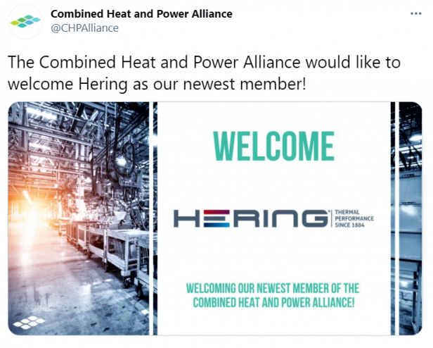 HERING joins Combined Heat and Power Alliance